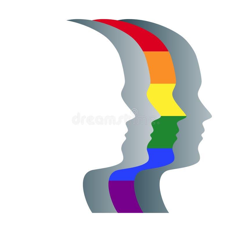 Гомосексуалист и серые силуэты стороны в ряд иллюстрация вектора