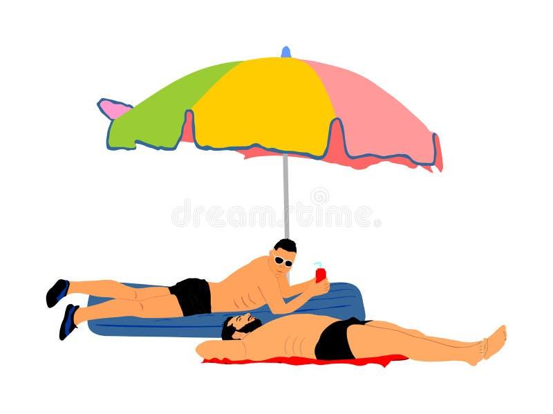 2 гомосексуальных мальчика лежа на иллюстрации пляжа Красивый гомосексуалист загорая под парасолем Нежность пар гея публично иллюстрация штока