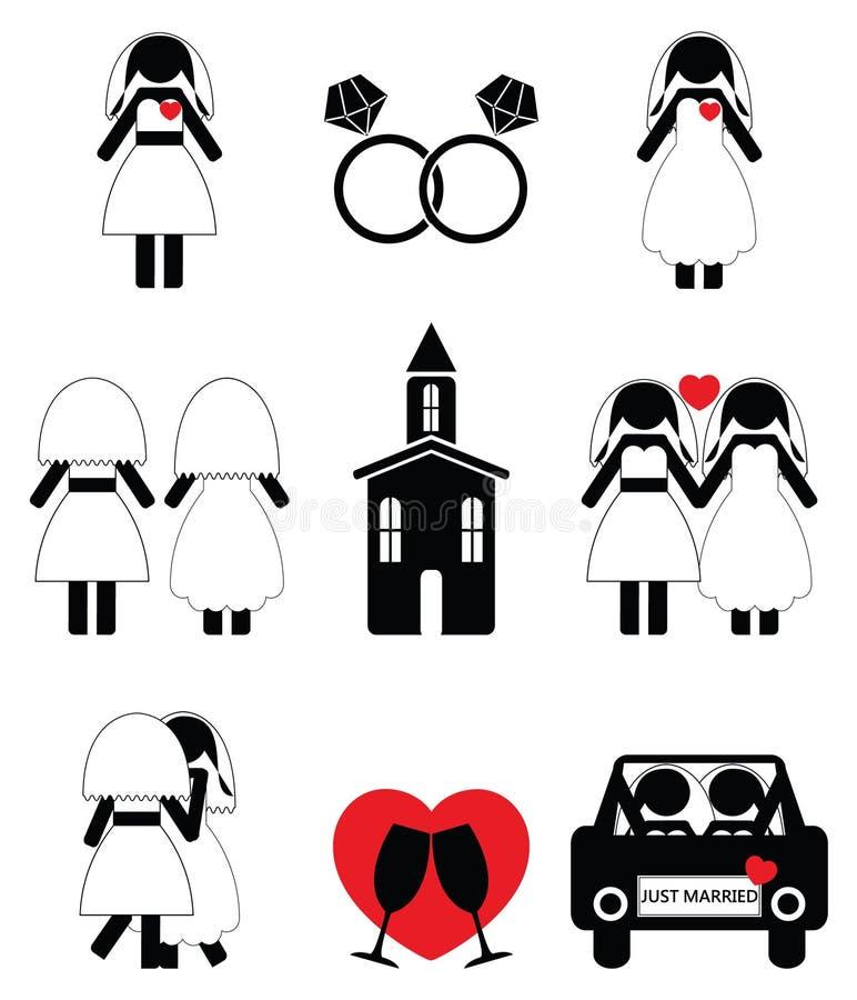 Гомосексуальная женщина wedding 2 установленного значка иллюстрация вектора