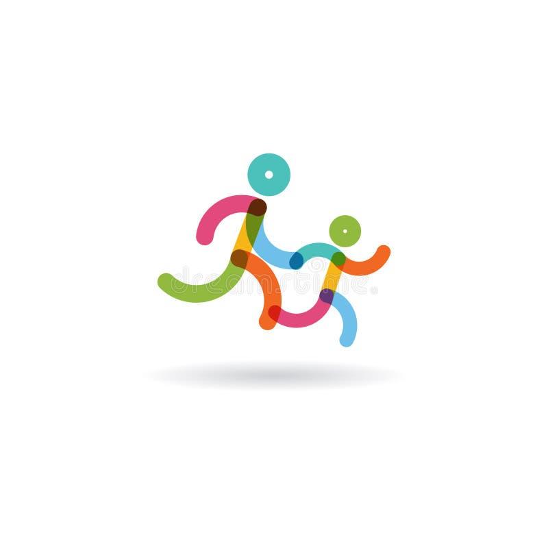 Гонка бега семьи Цветастые бегунки логотип для идущей конкуренции также вектор иллюстрации притяжки corel бесплатная иллюстрация