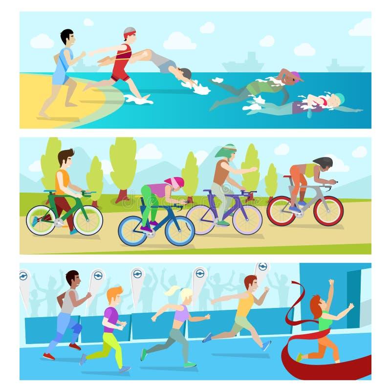 Гонка конкуренции спорта триатлона infographic для людей спортсменов иллюстрации вектора марафона иллюстрация штока