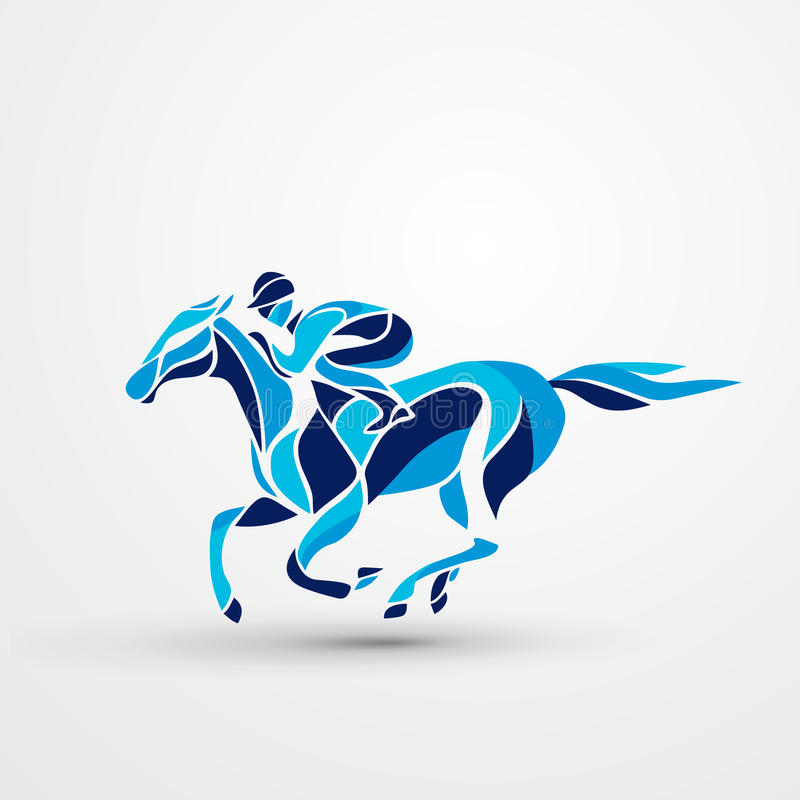 гонка лошадей лошади проводки округляя поворот 3 лошади лошади dressage конноспортивные скача всадники поло silhouettes вектор сп иллюстрация вектора