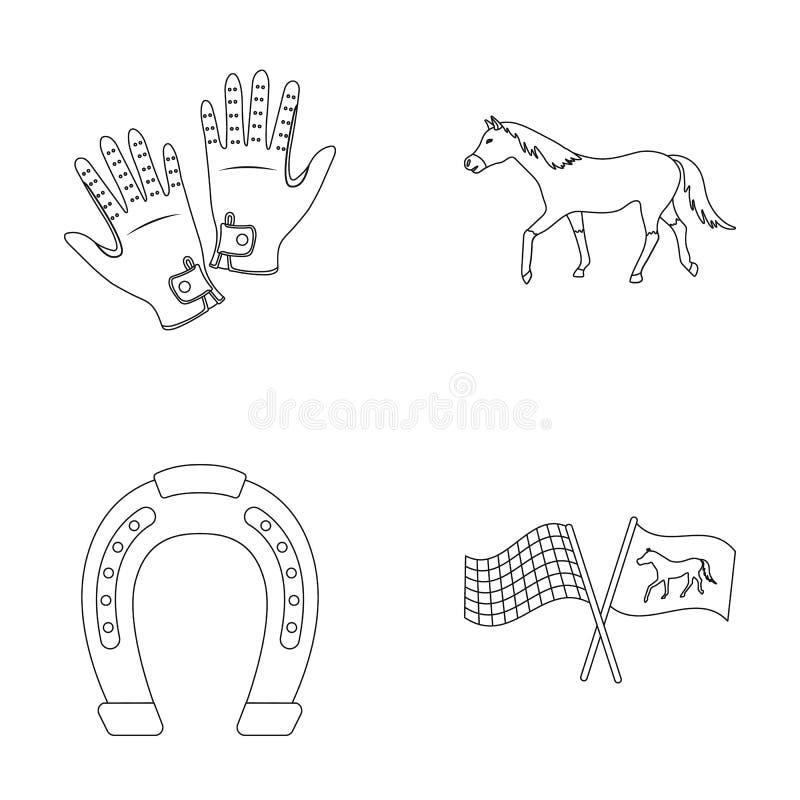 Гонка, след, лошадь, животное Значки собрания Hippodrome и лошади установленные в плане вводят иллюстрацию в моду запаса символа  иллюстрация вектора