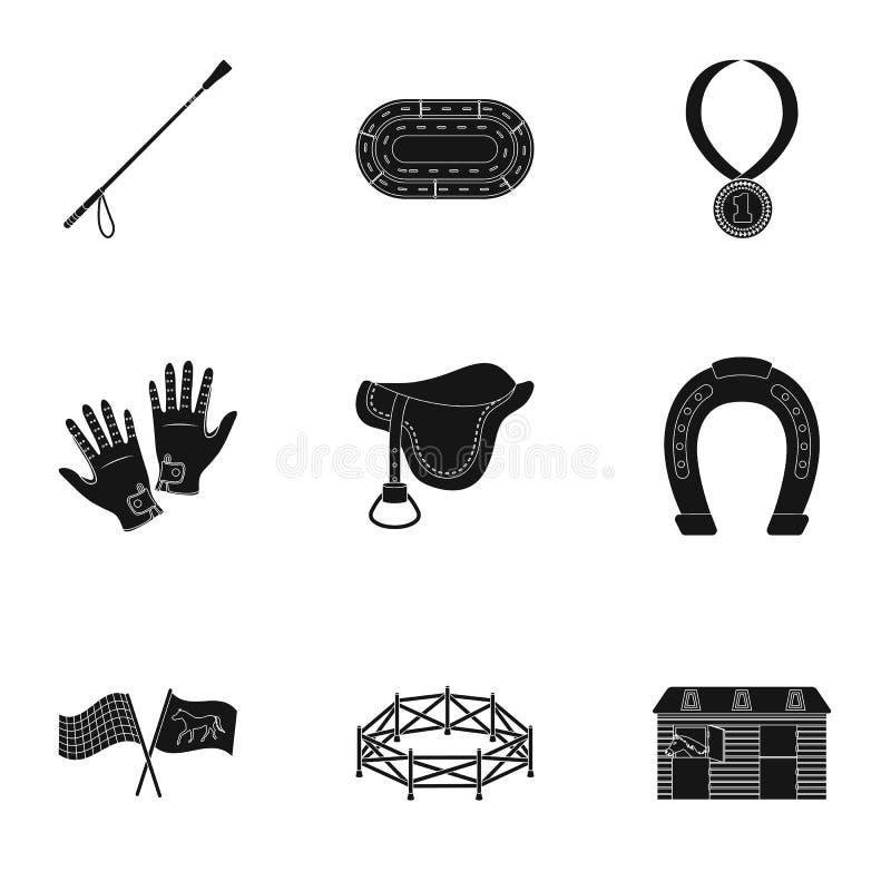 Гонки верхом, hippodrome Лошадиные скачки и оборудовать всадники Значок Hippodrome и лошади в собрании комплекта на черноте иллюстрация штока