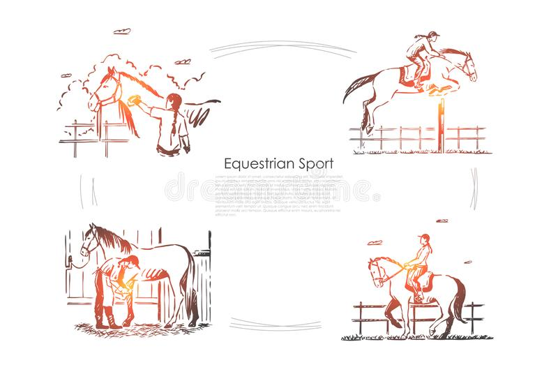 Гонки ипподрома, жокей верхом, наездник в седловине, equine шоу, жеребце в шаблоне знамени амбара бесплатная иллюстрация