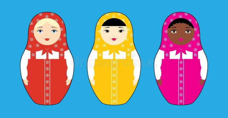 3 гонки кукол гнездиться иллюстрация штока