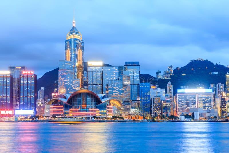Гонконг в гавани Виктории стоковая фотография rf