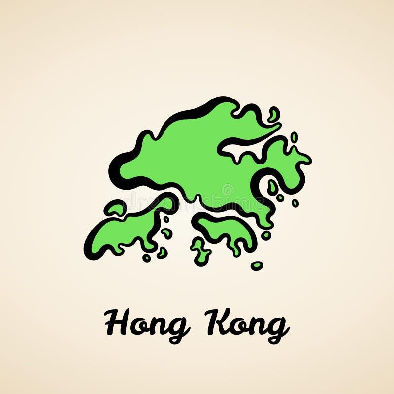 Гонконг - контурная карта иллюстрация вектора