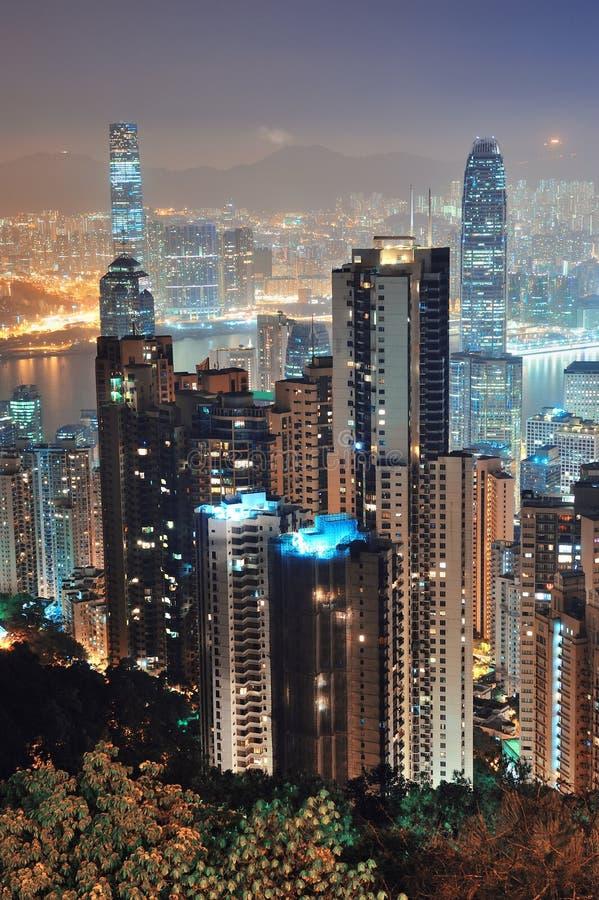 Гонконг на ноче стоковые изображения