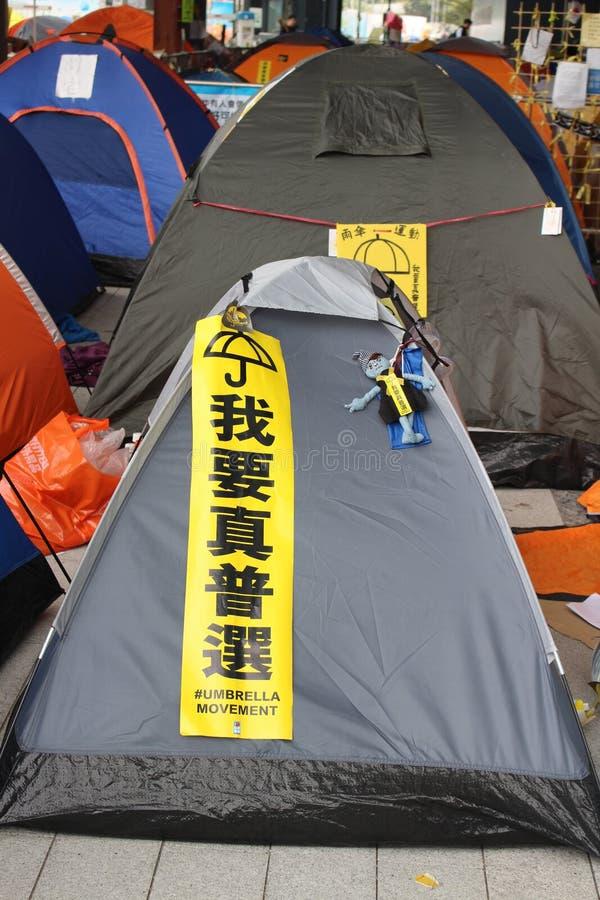 Гонконг, централь, революция зонтика стоковое изображение rf