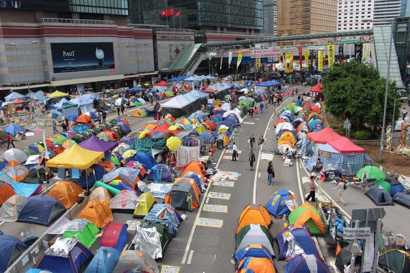 Гонконг, централь, революция зонтика стоковое фото rf