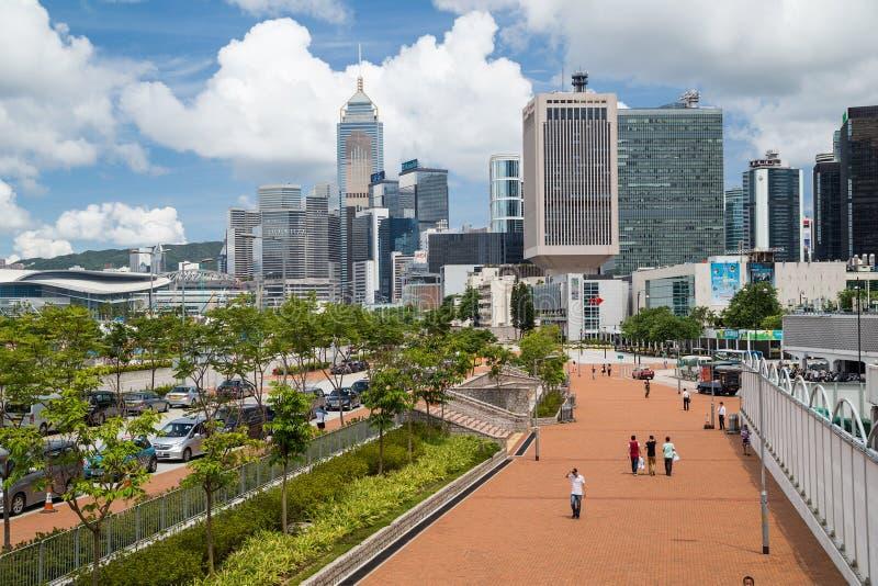 Гонконг, SAR Китай - около июль 2015: Офисные здания и портовый район Гонконга стоковые фото