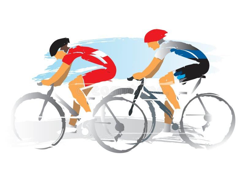Гонщики велосипедистов дороги иллюстрация штока