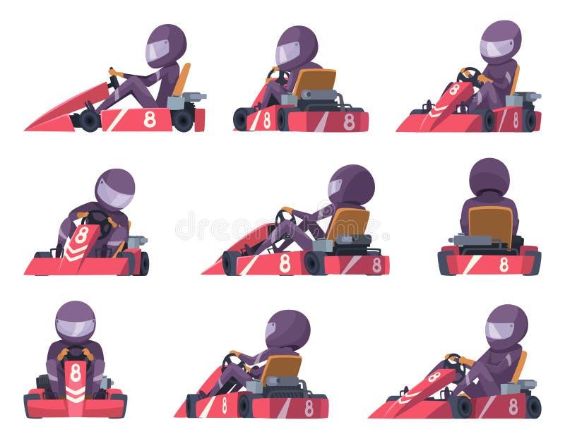 Гонщики Karting Иллюстрации автомобиля вектора конкуренции автомобилей скорости спорта karting бесплатная иллюстрация