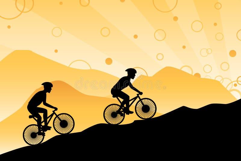 гора велосипедистов иллюстрация штока