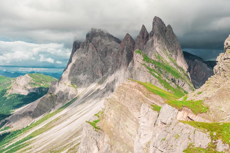 Гора в доломитах, южный Тироль Seceda, Италия стоковое фото