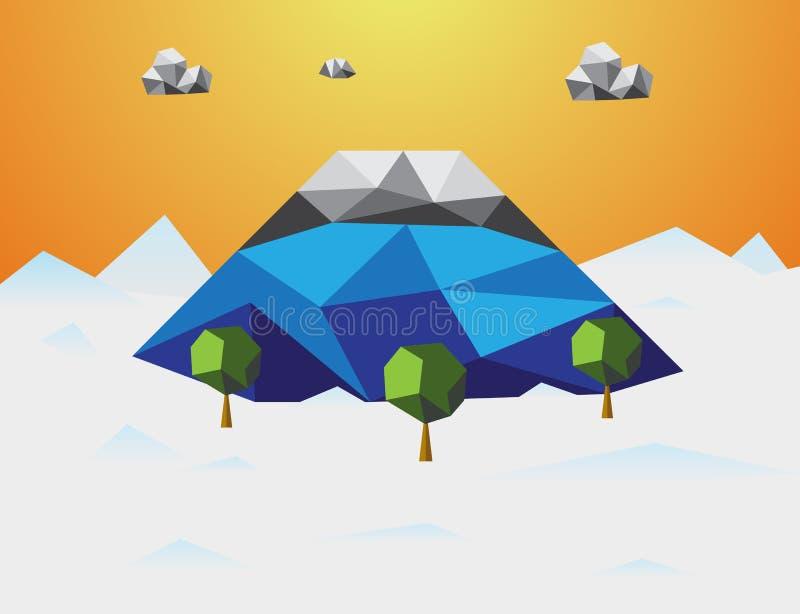Гора в предпосылке зимы низкой поли Гора и облако и деревья в компоненте Концепция природы и ландшафта Абстрактный и иллюстрация штока