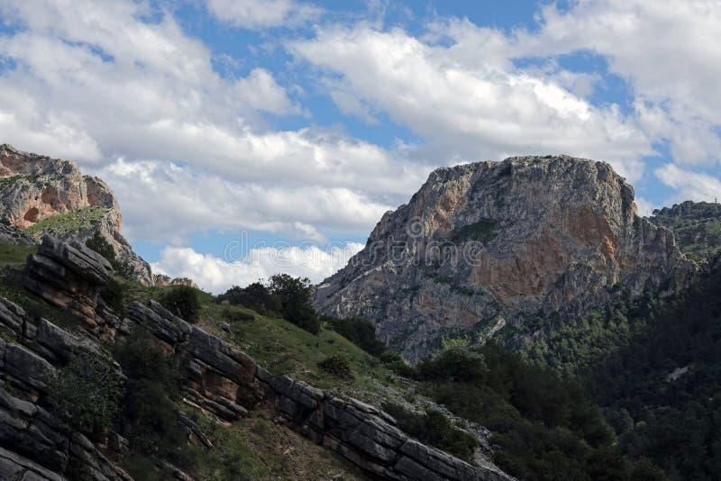 Гора долины Hoyo на Caminito del Rey в Андалусии, Испании стоковое изображение rf