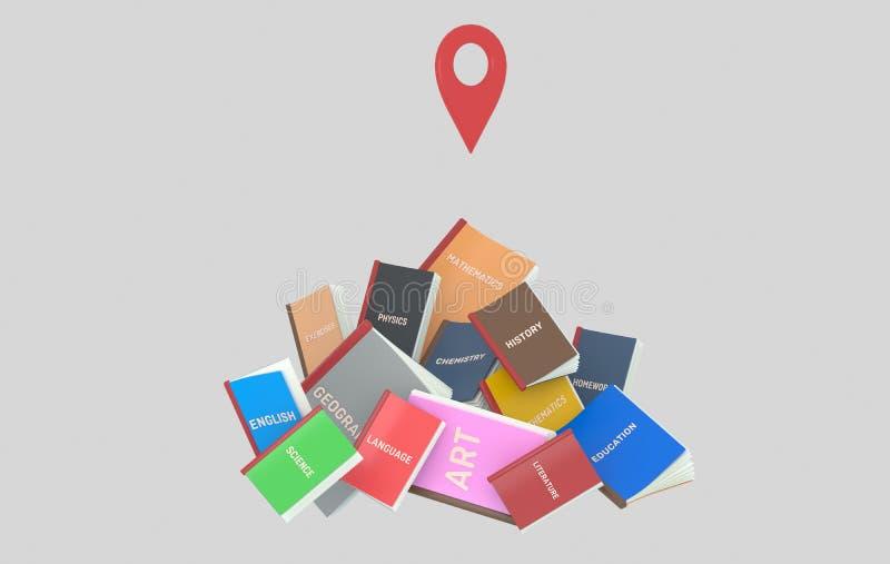 Гора книг студента GPS иллюстрация 3d стоковая фотография