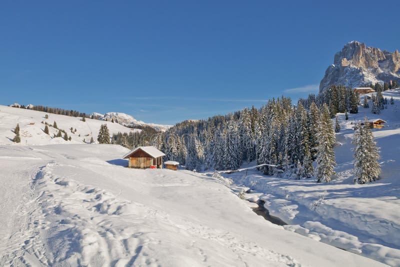 Гора доломитов в зиме стоковая фотография