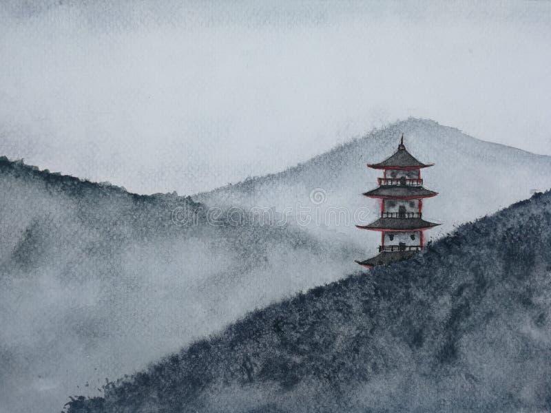 Гора пагоды ландшафта акварели нарисованная рукой крася в тумане иллюстрация штока