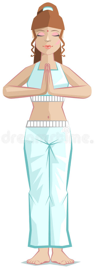 Гора представления йоги девушки иллюстрация вектора
