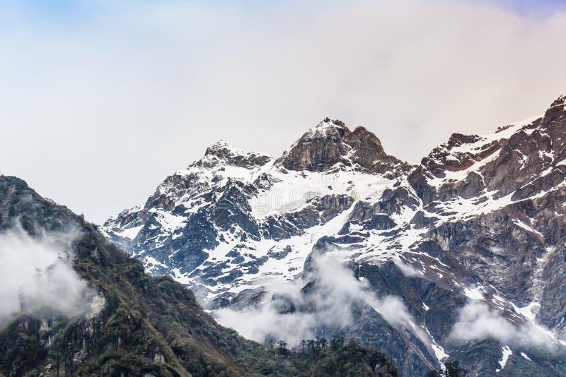 Гора снега с туманом стоковая фотография rf
