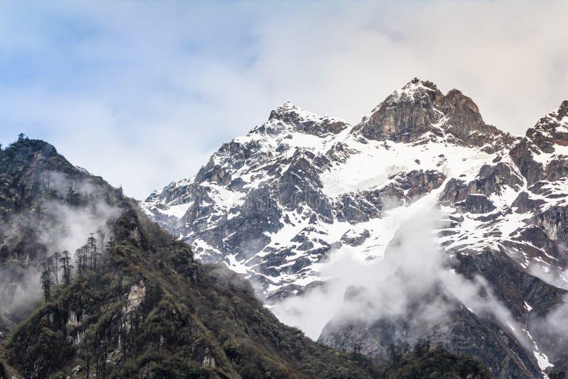 Гора снега с туманом стоковые изображения rf