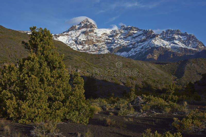 Гора Сьерра Velluda в национальном парке Laguna de Laja, Чили стоковые фотографии rf