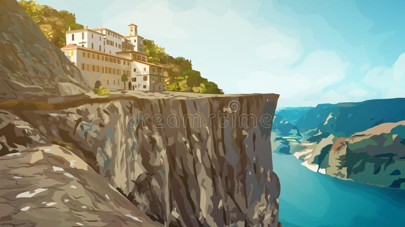 Гора с домом бесплатная иллюстрация