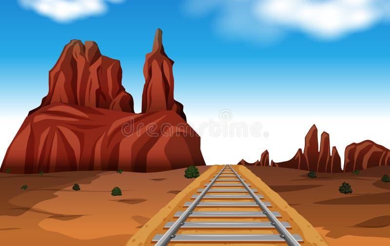 Гора утеса в сцене пустыни иллюстрация штока