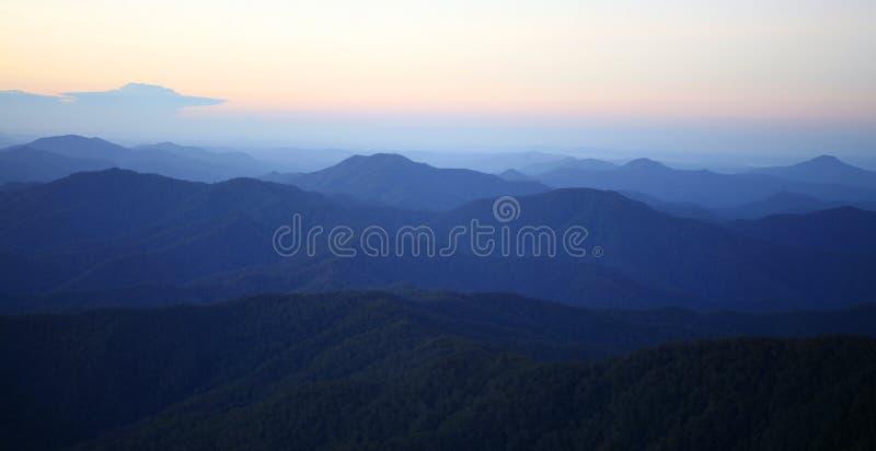 гора утра тумана стоковые изображения rf