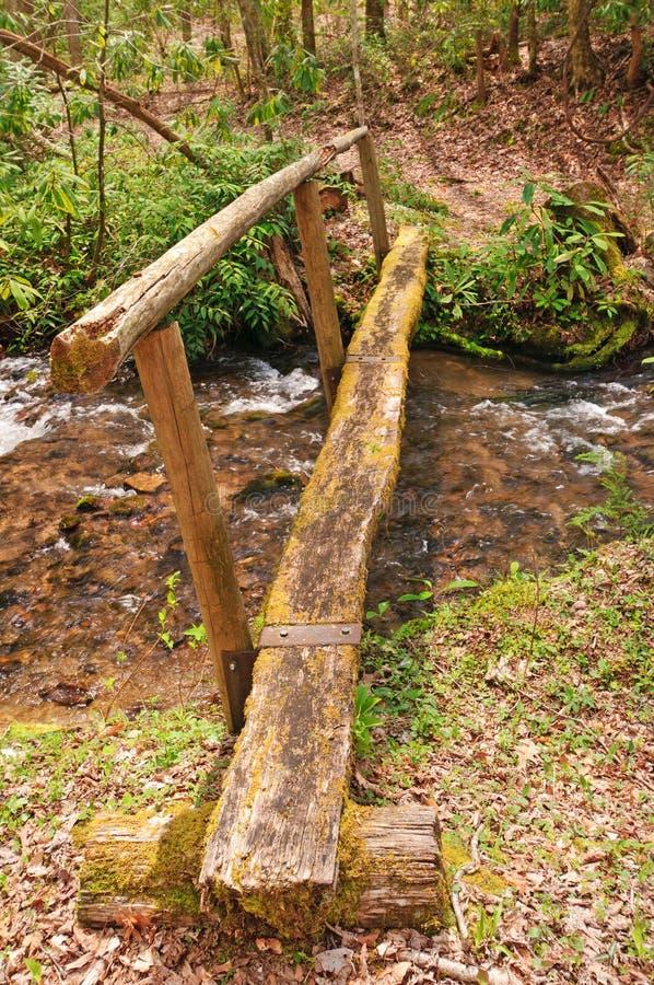 гора footbridge над деревенский потоком стоковое изображение rf