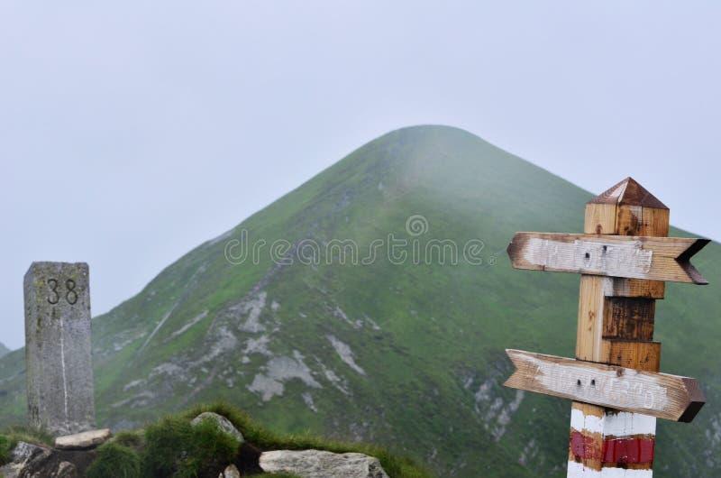 Гора Goverla покрытая с туманом стоковое фото rf