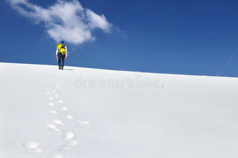 Гора Hiker взбираясь в снеге стоковое фото