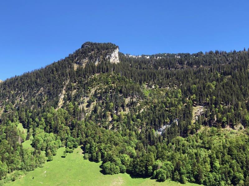 Гора Himmelchopf над долиной Wagital или Waegital и высокогорным озером Wagitalersee Waegitalersee, Innerthal стоковые фото