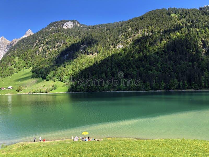 Гора Himmelchopf над долиной Wagital или Waegital и высокогорным озером Wagitalersee Waegitalersee, Innerthal стоковые изображения rf