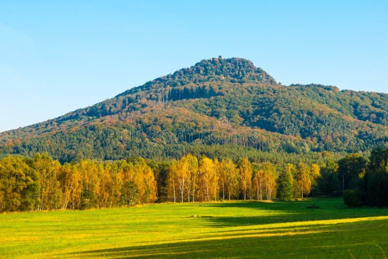 Гора Ralsko на солнечный день осени Северная Богемия, чехия стоковое изображение rf