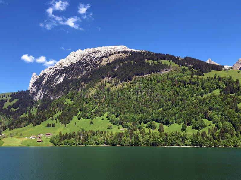 Гора Schiberg над долиной или Waegital Wagital и озеро Waegitalersee Wagitalersee высокогорное, Innerthal стоковая фотография rf