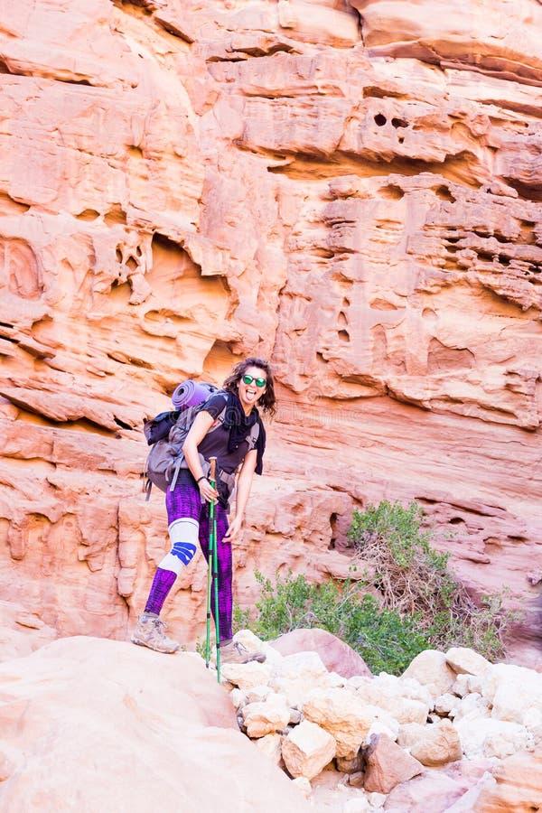 Гора t каньона камня пустыни туристской женщины Backpacker стоящая стоковые изображения