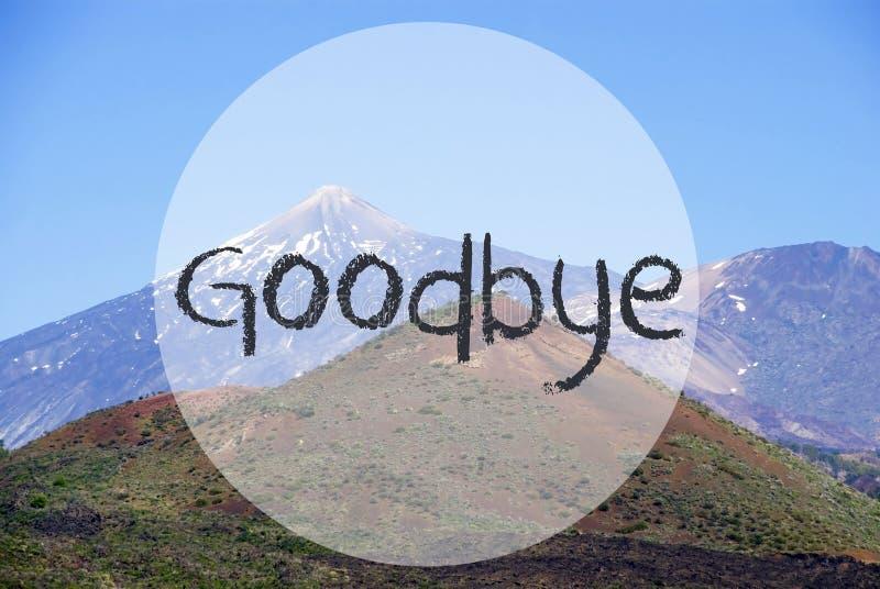 Гора Vulcano, английский язык отправляет SMS до свидания, красивая природа стоковые фотографии rf