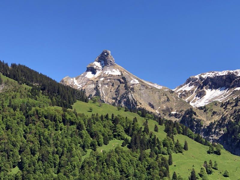 Гора Zindlenspitz над долиной Wagital или Waegital и высокогорным озером Wagitalersee Waegitalersee, Innerthal стоковые изображения