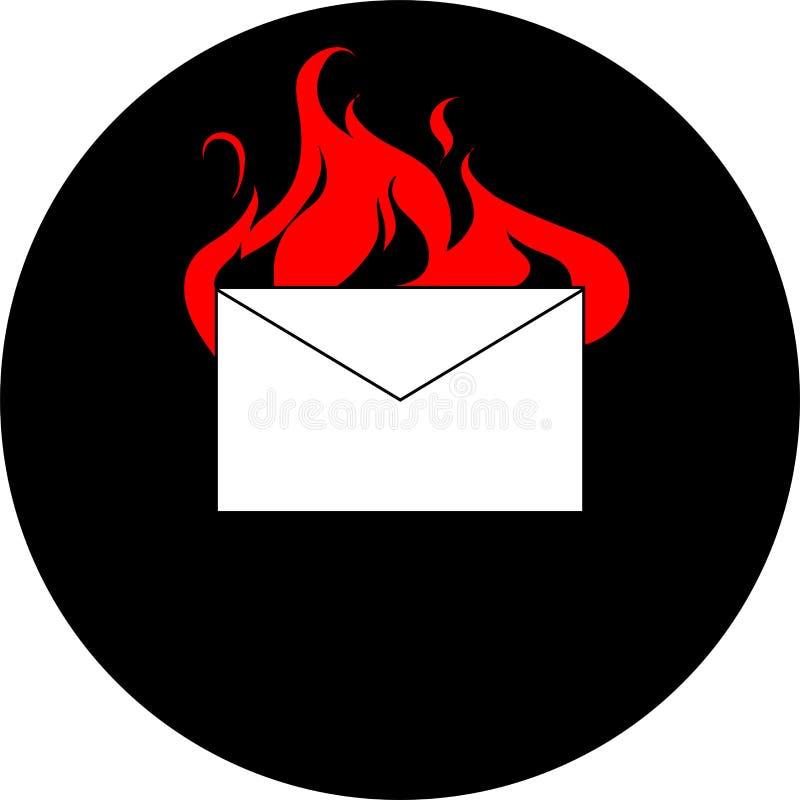 Горение конверта почты иллюстрация вектора