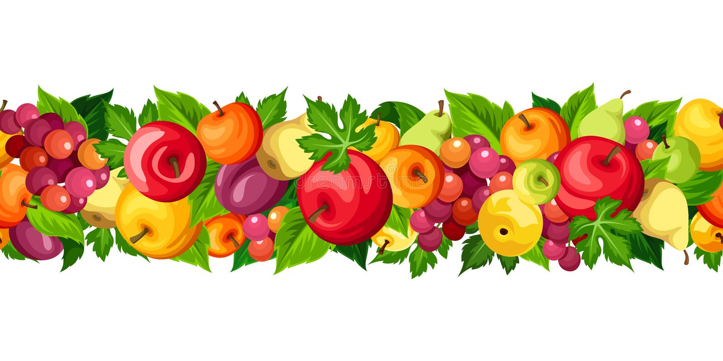 Горизонтальная безшовная граница с плодоовощами также вектор иллюстрации притяжки corel иллюстрация штока
