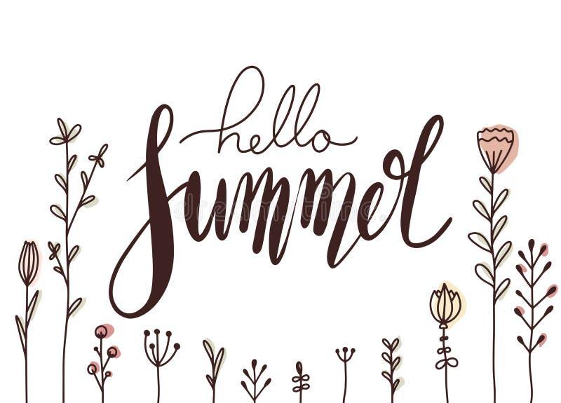 Горизонтальная карта с рукописным помечая буквами летом здравствуйте с цветками doodle Поздравительная открытка с положительной ц иллюстрация вектора