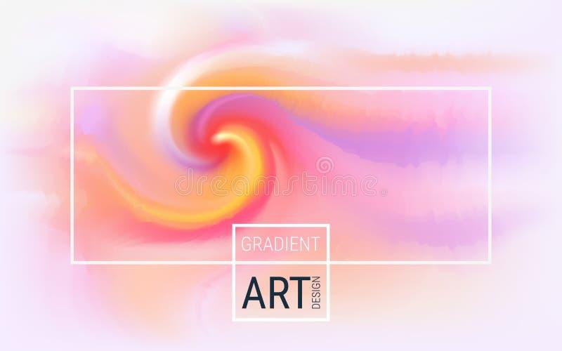 Горизонтальная предпосылка конспекта вектора Зарево плазмы Спираль и волна цветов на светлой предпосылке Динамические яркие гради иллюстрация вектора