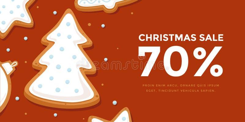 Горизонтальная продажа рождества знамени с рождественской елкой пряника в поливе иллюстрация вектора