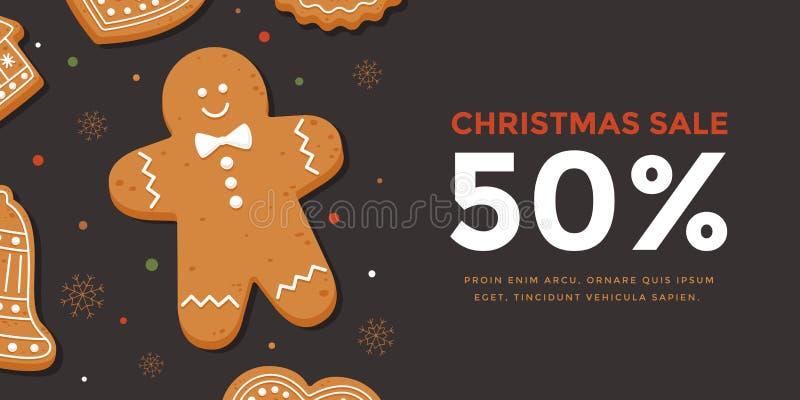 Горизонтальная продажа рождества знамени с человеком пряника иллюстрация вектора