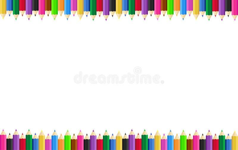 Горизонтальная рамка плаката с покрашенными карандашами на краях на заднем плане r бесплатная иллюстрация