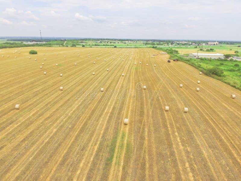 Горизонтальная связка hays на ферме мозоли после сбора в стране холма, стоковое изображение rf